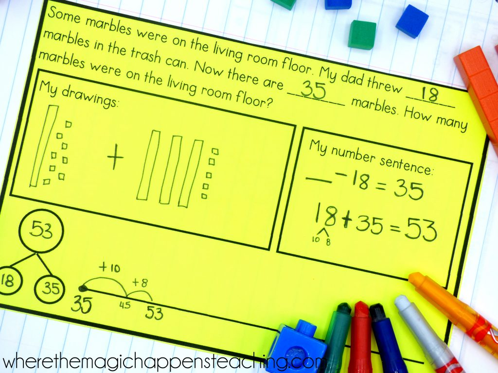 An article with an explanation on how to teach with numberless word problems. The activities provided are designed for students in K-2, and a numberless word problems PDF with 13 worksheets is provided for FREE!