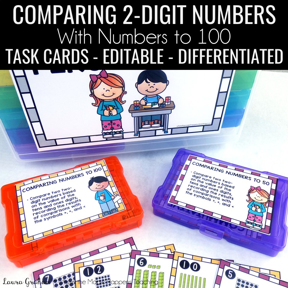 Comparing two numbers task cards