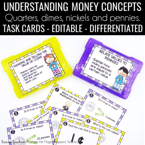 coin task cards for 1st grade