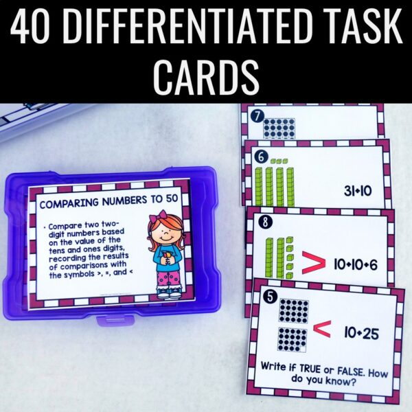 Comparing 2-digit Numbers to 100 Task Cards • Scoot 1 NBT B 3
