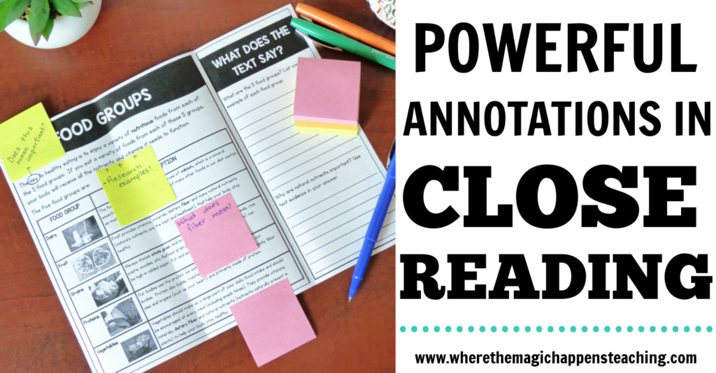 Annotations in close reading
